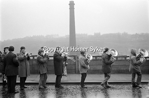 Bacup Coconut Dancers, the Stacksteads Silver Band, Bacup Lancashire England 1972.