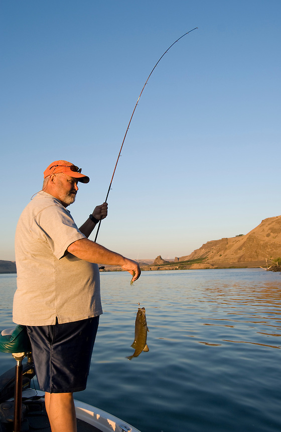 Smallmouth Bass fishing on the Columbia River on the Washington State side, near Biggs Junction,Washington.