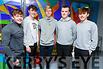 Michael Kerins, Chris O'Halloran, Harry Vieux, Jack Prendergast and Darach Gallagher attending the Careers night in Mercy Mounthawk on Thursday night,