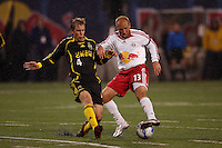 NY Red Bulls midfielder (13) Clint Mathis is defended by Columbus Crew defender (4) Rusty Pierce at Giants Stadium, East Rutherford, NJ, on May 19, 2007. The Red Bulls defeated the Crew 4-0.