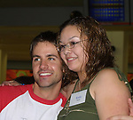"John Driscoll (Coop) poses with a fan at the ""Bloss"" Bowling Event during the Guiding Light weekend on October 15, 2005 at the Port Authority, NY (Photo by Sue Coflin)"
