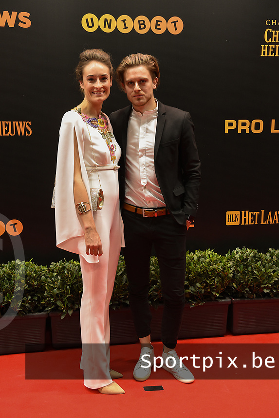 20190116 – PUURS ,  BELGIUM : Tessa Wullaert (L) pictured during the  65nd men edition of the Golden Shoe award ceremony and 3th Women's edition, Wednesday 16 January 2019, in Puurs Studio 100 Pop Up Studio. The Golden Shoe (Gouden Schoen / Soulier d'Or) is an award for the best soccer player of the Belgian Jupiler Pro League championship during the year 2018. The female edition is the thirth one in Belgium.  PHOTO DIRK VUYLSTEKE | Sportpix.be