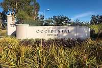 New sign for Occidental College at the Mullin Entrance to campus.<br />
