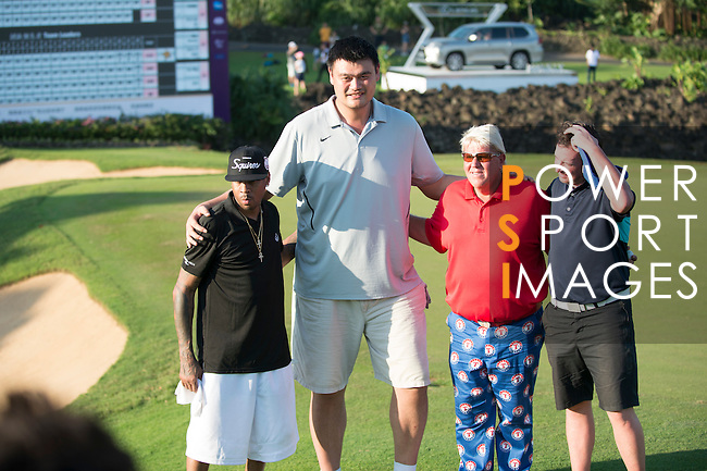 (L-R) Allen Iverson, Yao Ming, John Daly, Robbie Fowler during the World Celebrity Pro-Am 2016 Mission Hills China Golf Tournament on 22 October 2016, in Haikou, China. Photo by Marcio Machado / Power Sport Images