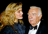 Actress Brooke Shields, left, and former CBS Evening News anchor Walter Cronkite, right, arrive for the American Film Institute (AFI) Gala in Washington, DC on September 26, 1989.<br /> Credit: Ron Sachs / CNP