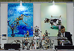 November 9th, 2011 : Tokyo, Japan – Robot artworks by CRAFT FACTORY SHOVEL HEAD are displayed during International Robot Exhibition 2011. This show is held to showcase new robots and high technology equipments at the Tokyo International Exhibit Center. International Robot Exhibition 2011 runs from November 9 – 12. (Photo by Yumeto Yamazaki/AFLO)
