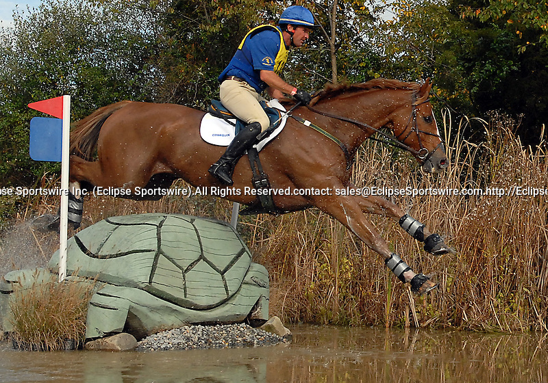 18 October 2008:  Phillip Dutton and Bailey Wick sit 1.7 penalties out of the lead and in fourth-place after the cross country section of the Fair Hill International CCI*** Championship at Fair Hill Equestrian Center in Fair Hill, Maryland.  Cross country is the second stage of the three-day event.