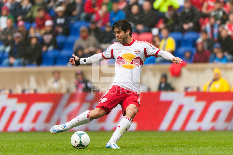 Juninho (8) of the New York Red Bulls. The New York Red Bulls defeated the Los Angeles Galaxy 1-0 during a Major League Soccer (MLS) match at Red Bull Arena in Harrison, NJ, on May 19, 2013.
