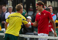 LLEYTON HEWITT (Aus) against ROGER FEDERER (SUI) in the Second Rubber of the Davis Cup between Australia and Switzerland. Roger Federer beat Lleyton Hewitt 5-7 7-6 6-2 6-3..Tennis - Davis Cup - World Group - Royal Sydney Golf Club - Sydney - Day 1 - Friday September 16th 2011..© AMN Images, Barry House, 20-22 Worple Road, London, SW19 4DH, UK..+44 208 947 0100.www.amnimages.photoshelter.com.www.advantagemedianetwork.com.