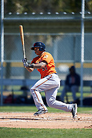 Baltimore Orioles right fielder Michael Choice (91) follows through on a swing during a minor league Spring Training game against the Boston Red Sox on March 16, 2017 at the Buck O'Neil Baseball Complex in Sarasota, Florida.  (Mike Janes/Four Seam Images)