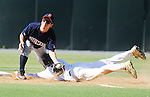 The Gazette Severna Park's Brent Jones slides into second base safely as Bowie's Dylan Thompson fields a throw from the catcher during the Maryland 4A state baseball semifinals held at Shipley Field at the University of Maryland, College Park on Tuesday afternoon. Bowie lost 8-2.
