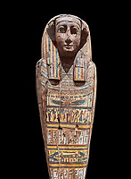 Ancient Egyptian wooden sarcophagus - the tomb of Tagiaset, Iuefdi & Harwa circa 25nd Dynasty (7th cent BC.) Thebes. Egyptian Museum, Turin.  black background, <br /> <br /> Possibly the sarcophagus of the daughter of Tagiaset. There is a depiction of a wesekh collar around the neck.