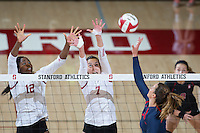 STANFORD, CA - October 14, 2016: Inky Ajanaku,Ivana Vanjak at Maples Pavilion. The Arizona Wildcats defeated the Cardinal 3-1.