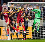 Philadelphia Union goalkeeper Rais Mbolhi (92) punches the ball against Real Salt Lake in the first half Saturday, March 14, 2015, during the Major League Soccer game at Rio Tiinto Stadium in Sandy, Utah. (© 2015 Douglas C. Pizac)