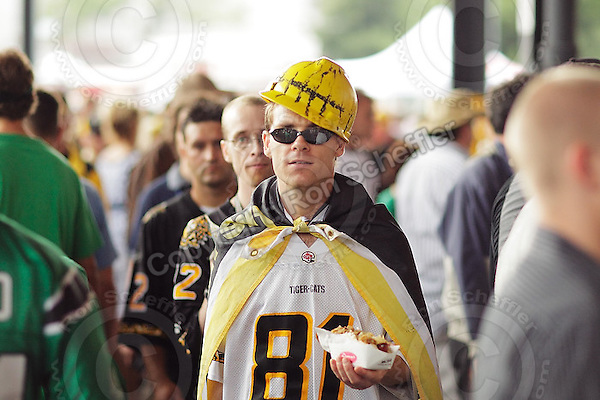 July 12, 2008; Hamilton, ON, CAN; Hamilton Tiger-Cats supporters prior to the CFL football game against the Saskatchewan Roughriders at Ivor Wynne Stadium. The Roughriders defeated the Tiger-Cats 33-28. Mandatory Credit: Ron Scheffler.