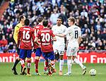Real Madrid´s Danilo, Toni Kroos and Atletico de Madrid´s Correa, Juanfran and Gabi during 2015/16 La Liga match between Real Madrid and Atletico de Madrid at Santiago Bernabeu stadium in Madrid, Spain. February 27, 2016. (ALTERPHOTOS/Javier Comos)