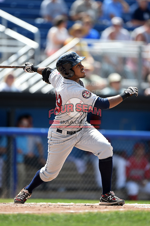 Mahoning Valley Scrappers first baseman Leo Castillo (29) at bat during a game against the Batavia Muckdogs on August 24, 2014 at Dwyer Stadium in Batavia, New York.  Mahoning Valley defeated Batavia 7-6.  (Mike Janes/Four Seam Images)