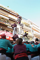 Human tower competition, castellers,  Falling. Sitges, Catalonia, Spain
