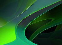 Abstract multi-layered translucent green shapes