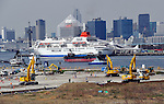 April 2, 2012, Tokyo, Japan - Construction gets underway at the new location for Tokyo's wholesale fish market in Toyosu area of the nations capital on Monday, April 2.12. .Tukiji fish market will move from its present location of more than 60 years at the mouth of Sumida River to a new site in Toyosu, some 2.3 km southeast. .The proposed site of the new market will cover about 40 hectares, twice as big as the present site. The new market is slated for completion in 2014 with the estimated cost of construction at 160 billion yen, less than what it would cost to redevelop the current facilities at Tsukiji. (Photo by Natsuki Sakai/AFLO) AYF -mis-.