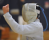 Jonathan Sheng of Jericho reacts after a win in sabre in the boys fencing Long Island Championship against Ward Melville at Jericho High School on Tuesday, Feb. 6, 2017.