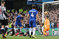 Alvaro Morata of Chelsea scores a goal to give his side the lead 2 1 during the Premier League match between Chelsea and Newcastle United at Stamford Bridge, London, England on 2 December 2017. Photo by David Horn.