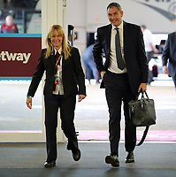 Swansea manager Paul Clement (R) arrives prior to the game during the Premier League match between West Ham United v Swansea City at the London Stadium, London, England, UK. Saturday 30 September 2017