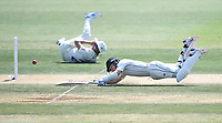 24th November 2019; Mt Maunganui, New Zealand;  BJ Watling dives for his crease on day 4 of the 1st international cricket test match, New Zealand versus England at Bay Oval, Mt Maunganui, New Zealand.  - Editorial Use