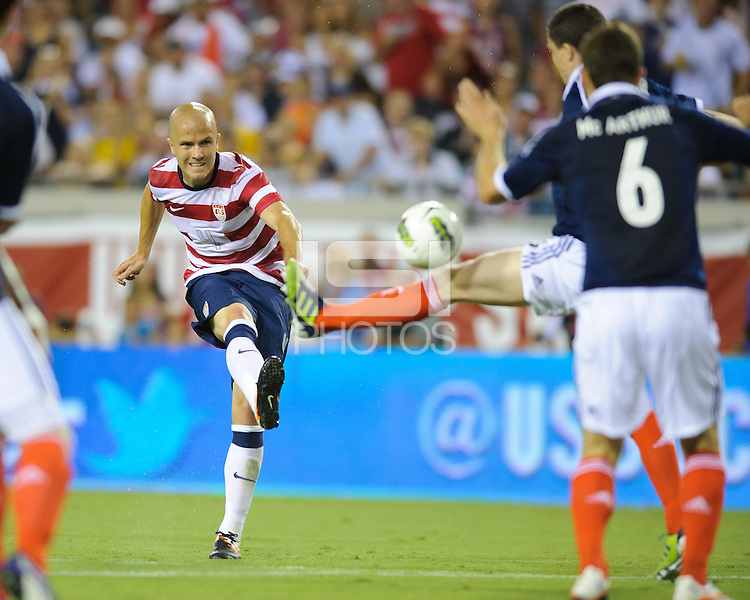 Jacksonville, FL - Saturday, May 26, 2012: Michael Bradley shoots on goal as the USMNT defeated Scotland 5-1 during an international friendly match.