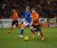 16th November 2019; Tannadice Park, Dundee, Scotland; Scottish Championship Football, Dundee United versus Queen of the South; Cammy Smith of Dundee United runs at Andy McCarthy of Queen of the South  - Editorial Use