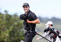 Luke Brown and Zara. Jennian Homes Charles Tour Autex Muriwai Open, Muriwai Links Golf Course, Muriwai, Auckland, New Zealand,Thursday 12 April 2018. Photo: Simon Watts/www.bwmedia.co.nz
