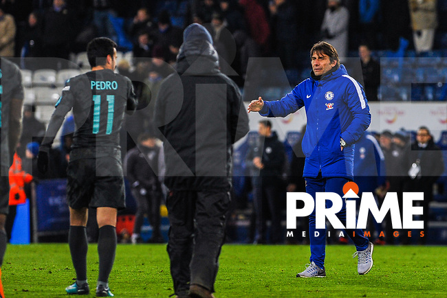 Chelsea manager Antonio Conte congratulates Pedro during the FA Cup QF match between Leicester City and Chelsea at the King Power Stadium, Leicester, England on 18 March 2018. Photo by Stephen Buckley / PRiME Media Images.