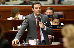 Nevada Assemblyman Derek Armstrong, R-Las Vegas, speaks in support of Gov. Brian Sandoval's $1.1 billion tax plan during the Assembly floor debate at the Legislative Building in Carson City, Nev., on Sunday, May 31, 2015. The Assembly approved the plan 30-10 after a two-hour passionate debate. <br /> Photo by Cathleen Allison