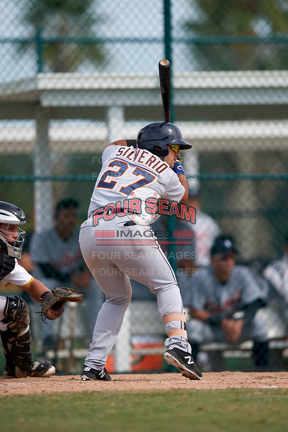 Detroit Tigers Gresuan Silverio (27) at bat during an Instructional League game against the Pittsburgh Pirates on October 6, 2017 at Pirate City in Bradenton, Florida.  (Mike Janes/Four Seam Images)