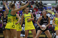 19.01.2019 Silver Ferns Gina Crampton in action during the Silver Ferns v Australia netball test match at The Copper Box Arena. Mandatory Photo Credit ©Michael Bradley Photography/Christopher Lee