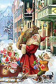 Interlitho, Patricia, CHRISTMAS SANTA, SNOWMAN, paintings, santa, sack, kids, KL5861,#X# Weihnachten, nostalgisch, Navidad, nostálgico, illustrations, pinturas