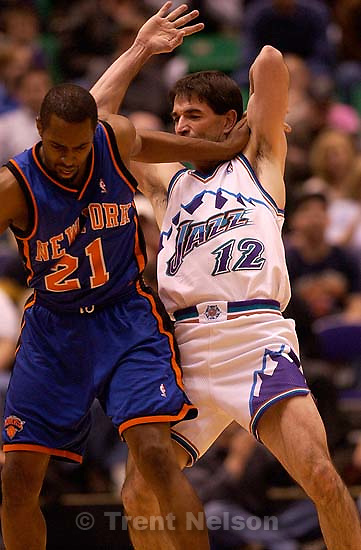 John Stockton. Utah Jazz vs. New York Knicks Friday night at the Delta Center.; 04.04.2003, 9:07:02 PM<br />