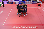 Japan team group (JPN),<br /> AUGUST 24, 2018 - Sepak takroae : <br /> Men's Doubles Semi-final  match Thailand - Japan <br /> at Jakabaring Sport Center Ranau Hall <br /> during the 2018 Jakarta Palembang Asian Games <br /> in Palembang, Indonesia. <br /> (Photo by Yohei Osada/AFLO SPORT)