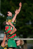 B. Farrell gets over the top of J. Kennedy in a lineout. Counties Manukau Premier Club Rugby, Pukekohe v Waiuku  played at the Colin Lawrie field, on the 3rd of 2006.Pukekohe won 36 - 14
