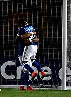 BOGOTA - COLOMBIA – 17 - 04 - 2018: Los jugadores de Millonarios (COL), celebran el cuarto gol anotado a Deportivo Lara (VEN), durante partido entre Millonarios (COL) y Deportivo Lara (VEN), de la fase de grupos, grupo G, fecha 3 de la Copa Conmebol Libertadores 2018, en el estadio Nemesio Camacho El Campin, de la ciudad de Bogota. / The players of Millonarios (COL), celebrate the fourth scored goal to Deportivo Lara (VEN), during a match between Millonarios (COL) and Deportivo Lara (VEN), of the group stage, group G, 3rd date for the Conmebol Copa Libertadores 2018 in the Nemesio Camacho El Campin stadium in Bogota city. VizzorImage / Luis Ramirez / Staff.