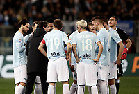 Calcio, Serie A: SS Lazio vs Hellas Verona, Roma, stadio Olimpico, 19 febbraio 2018.<br /> Lazio's coach Simone Inzaghi speaks to his players before the start of the Italian Serie A football match between SS Lazio and Hellas Verona at Rome's Olympic stadium, February 19, 2018.<br /> UPDATE IMAGES PRESS/Isabella Bonotto