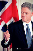 United States President Bill Clinton calls on a reporter during his joint press confrence with Prime Minister Tony Blair of Great Britain in the East Room of the White House in Washington, DC on February 6, 1998.<br /> Credit: Ron Sachs / CNP