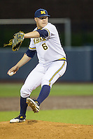 Michigan Wolverines pitcher Bryan Pall (6) delivers a pitch to the plate against the Oakland Golden Grizzlies on May 17, 2016 at Ray Fisher Stadium in Ann Arbor, Michigan. Oakland defeated Michigan 6-5 in 10 innings. (Andrew Woolley/Four Seam Images)