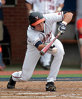 Virginia outfielder Brandon Downes (10) bunts the ball during the game against Bucknell Friday at Davenport Field in Charlottesville, VA. Photo/The Daily Progress/Andrew Shurtleff