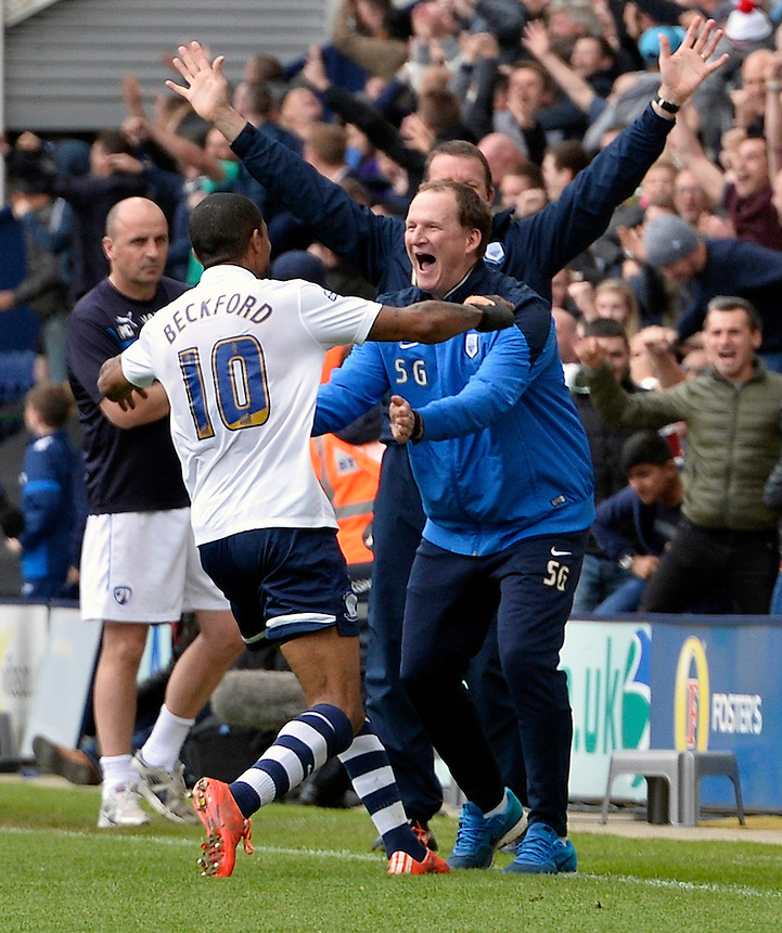 Preston North End's Jermaine Beckford celebrates his spectacular long range second and his teams third goal with Simon Grayson <br /> <br /> Photographer Stephen White/CameraSport<br /> <br /> Football - The Football League Sky Bet League One Semi-Final Second Leg - Preston North End -  Chesterfield - Deepdale - Preston<br /> <br /> &copy; CameraSport - 43 Linden Ave. Countesthorpe. Leicester. England. LE8 5PG - Tel: +44 (0) 116 277 4147 - admin@camerasport.com - www.camerasport.com