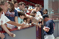 Boston Red Sox Jody Reed signs autographs during spring training circa 1989 at Chain of Lakes Park in Winter Haven, Florida.  (MJA/Four Seam Images)