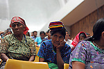 Indigenous women in audience listen to testimony during during the second day of trial of former Guatemalan dictator, Efrain Rios Montt in the Supreme Court of Justice Guatemala CIty March 20, 2013.