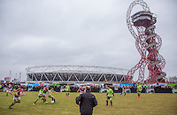 General View as the Apprentice 2015 team battle to fins a way through during the SOCCER SIX Celebrity Football Event at the Queen Elizabeth Olympic Park, London, England on 26 March 2016. Photo by Andy Rowland.