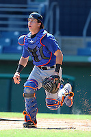 New York Mets catcher Camden Maron #12 during an intrasquad Instructional League game at City of Palms Park in Fort Myers, Florida;  October 3, 2011.  (Mike Janes/Four Seam Images)