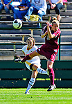 19 September 2010: University of Vermont Catamount forward/defender Haley Marks, a Freshman from Penfield, NY, in action against Colgate University Raider Kiki Koroshetz, a Senior from Norwalk, CT, at Centennial Field in Burlington, Vermont. The Raiders scored a pair of second half goals two minutes apart to notch a 2-0 victory over the Lady Cats in non-conference women's soccer play. Mandatory Credit: Ed Wolfstein Photo